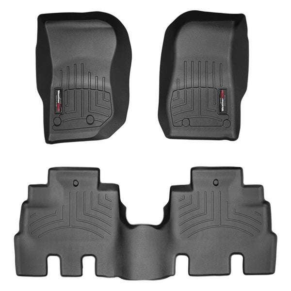 WeatherTech 44573-1-2 Black Front & Rear FloorLiner: Jeep Wrangler Unlimited 2014 +