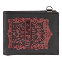 "Harley-Davidson Men's Crossfire Logo Genuine Leather Bi-Fold Wallet HDMWA11107 - 4.5"" x 3.5"""