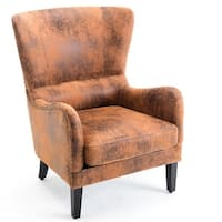 BELLEZE Wingback Chair Seat Nail Head Faux Leather Trim High Back Padded Armrest, Rust Brown
