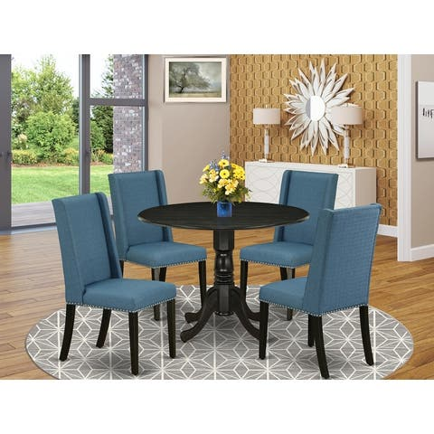 DLFL5-ABK-21 5-Pc Kitchen Table Set Included a Table & 4 Parsons Chairs, Mineral Blue Linen Fabric, Wirebrushed Black Finish