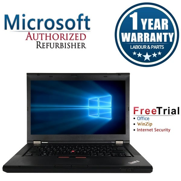 "Refurbished Lenovo ThinkPad T430 14.0"" Intel Core i5-3320M 2.6GHz 4GB DDR3 320GB DVD Win 10 Pro 64 (1 Year Warranty) - Black"