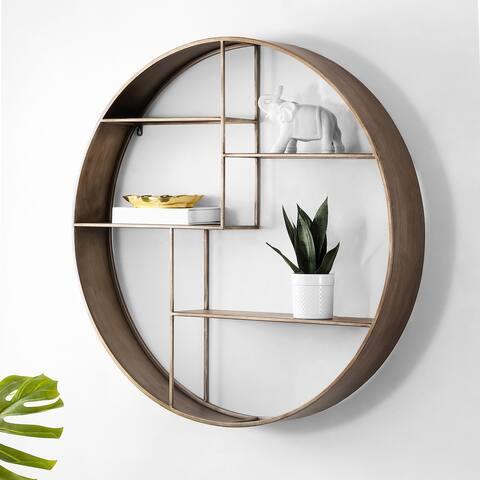 "SAFAVIEH Elewen Round Display Wall Shelf - 36"" W x 6"" L x 36"" H"