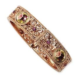 Rosetone Dark Purple Crystal/Floral Decal Stretch Bracelet - 7in