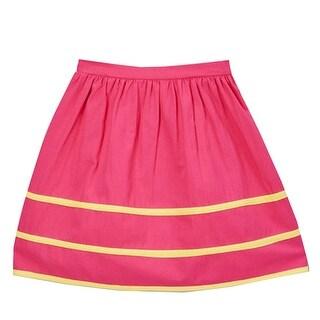 Girls Fuchsia Yellow Stripe Detailed Cotton Trendy Skirt 7-10