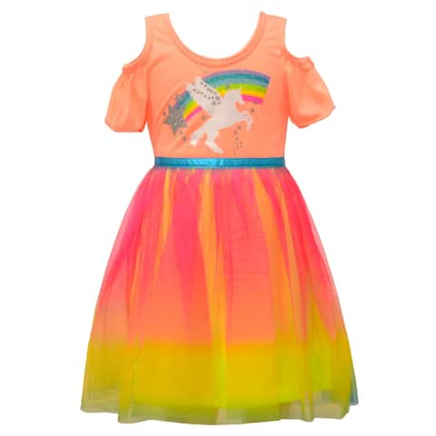 Little Girls Coral Rainbow Ombre Unicorn Cold Shoulder Easter Spring Dress