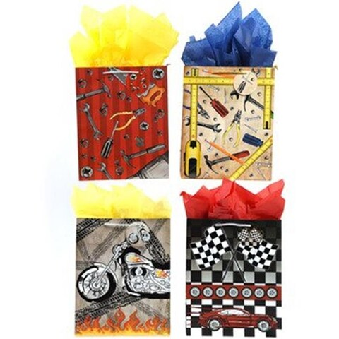 Real Men Tools & Cars Gift Bags with Hot Stamping, Large - Cas