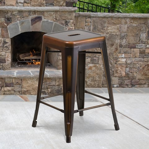 "24"" High Backless Distressed Metal Indoor-Outdoor Counter Height Stool"