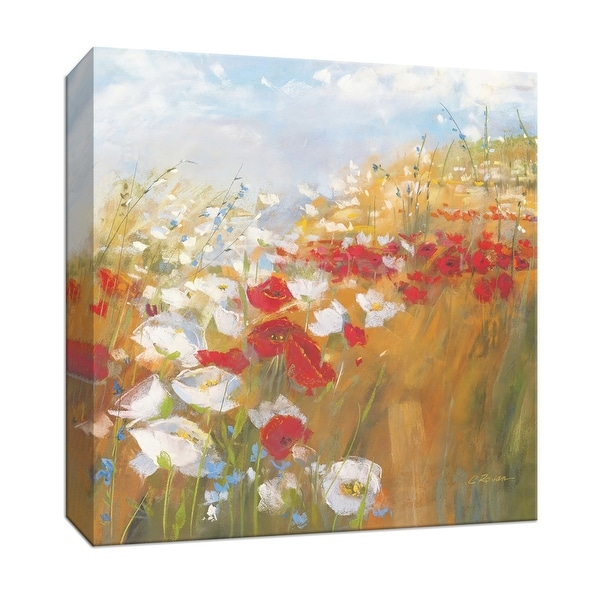 "PTM Images 9-153338 PTM Canvas Collection 12"" x 12"" - ""Poppies and Larkspur II"" Giclee Rural Art Print on Canvas"