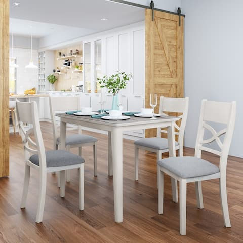 5-Piece Kitchen Dining Table Set with 4 Upholstered Padded Chairs