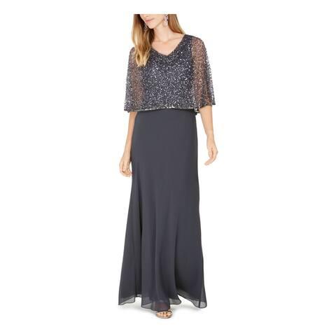 JKARA Womens Gray Short Sleeve Maxi Sheath Evening Dress Size 8