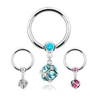 "Surgical Steel Gemmed Captive Bead Ring w/Multi Gem Paved Dice Dangle - 14GA 1/2"" Long (Sold Ind.)"