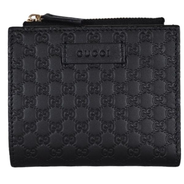 """Gucci 510318 Black Leather Micro GG Guccissima Card Case Bifold Small Wallet - 4.25"""" x 3.75"""""""