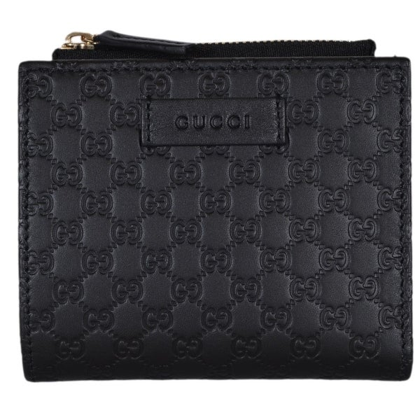 b38aa507aca8 Gucci 510318 Black Leather Micro GG Guccissima Card Case Bifold Small Wallet  - 4.25