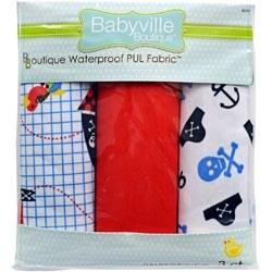 "Little Pirate; Skulls & Red - Babyville Pul Waterproof Diaper Fabric 21""X24"" Cuts 3/Pkg"