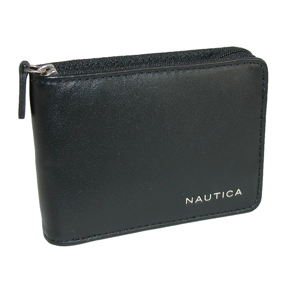 Nautica Men's Leather Weatherly Slim Zip-Around Bifold Wallet - One size