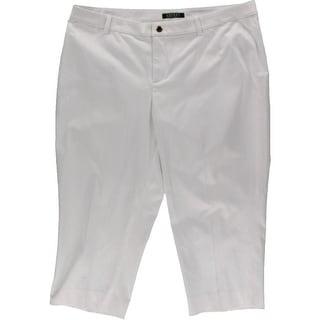 Lauren Ralph Lauren Womens Plus Flat Front Solid Capri Pants - 16W