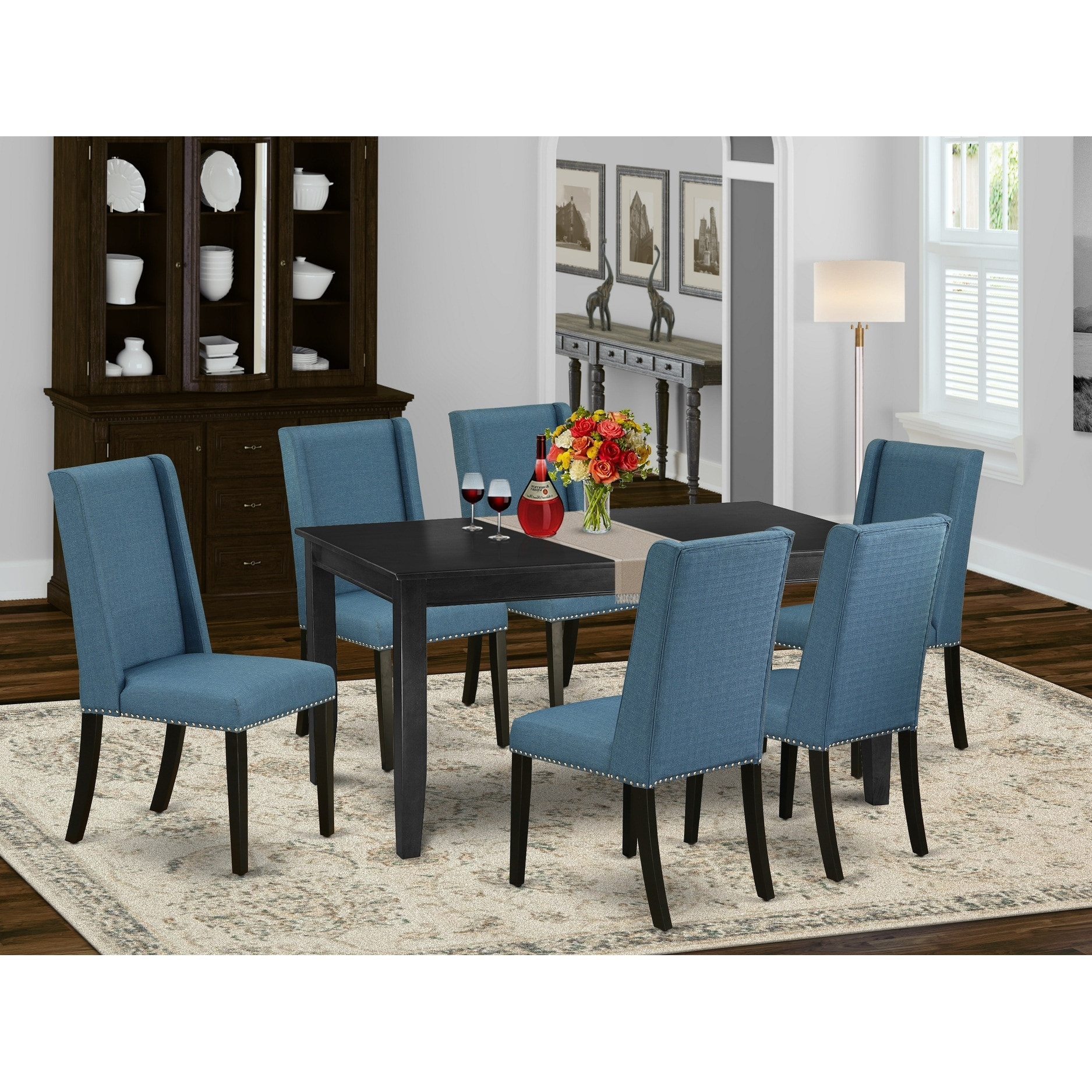 Dufl7 Blk 21 7 Piece Kitchen Dining Table Set 6 Parson Dining Chairs And Small Dining Table High Back Black Finish Overstock 32085564