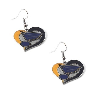 St Louis Blues Swirl Heart Earring