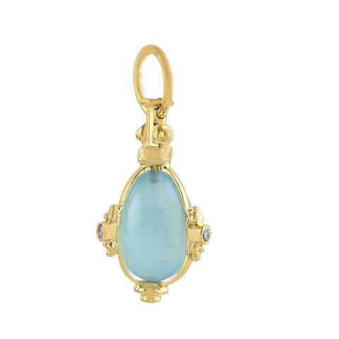 Artisan Yellow Gold Diamond Aquamarine Charm Jewelry