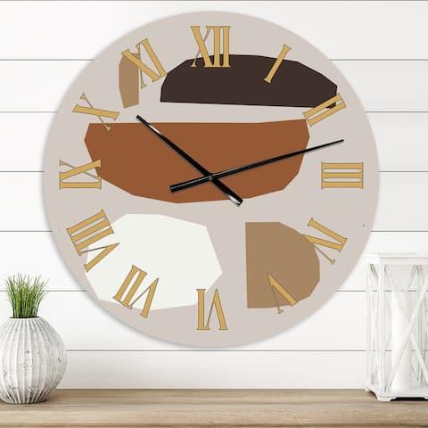 Designart 'Minimal Elementary Organic and Geometric Compostions XXIX' Modern wall clock