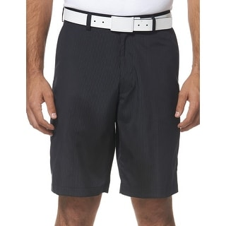PGA Tour Performance Striped Flat Front Golf Shorts Caviar Black 32