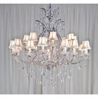 Swarovski Elements Crystal Trimmed Maria Theresa Lighting Chandelier With White Shades