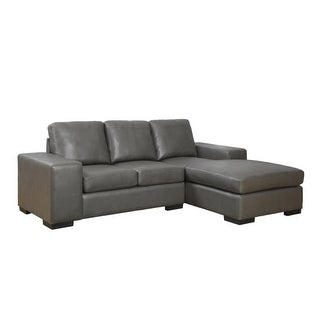 Monarch Specialties Bonded leather sofa with lounger I Bonded Leather Sofa with Chaise
