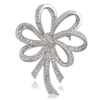 Bling Jewelry Bridal CZ Bow Ribbon Wedding Brooch Pin Rhodium Plated