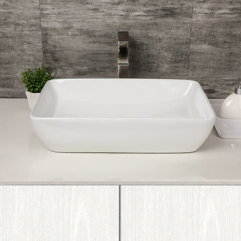"Rectangle Vessel Sink - 23""x15"" Bathroom Sink Rectangle Above Counter White Porcelain Ceramic Rectangle Vanity Sink Art Basin"