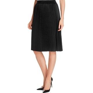 T Tahari Womens Phoebe Pleated Skirt Satin Internal Liner