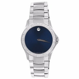 Movado Masino Mens Watch Navy Blue Dial Genuine Diamonds 1.0 CT Analog 38 MM