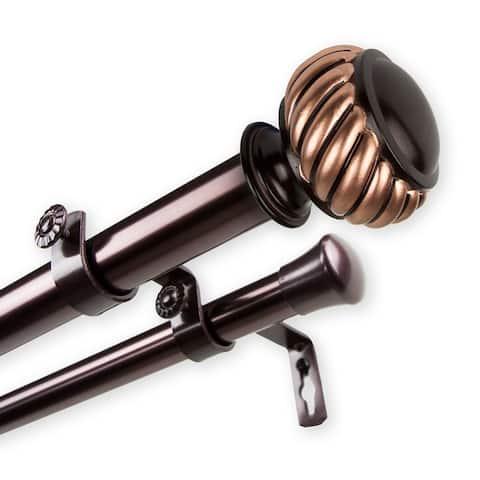 InStyleDesign Barta 1 inch Diameter Adjustable Double Curtain Rod