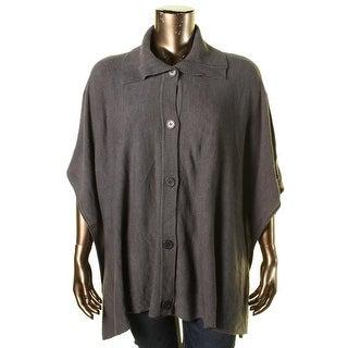 Karen Scott Womens Plus Button Front Cardigan Poncho Sweater - 0x/1x