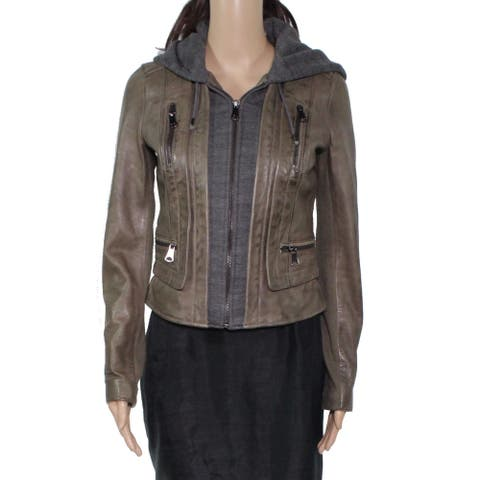 Andrew Marc Women's Jacket Brown Size XS Motorcycle Leather Hoodie