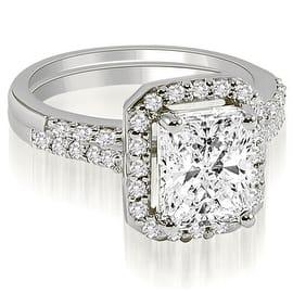 1.06 cttw. 14K White Gold Emerald And Round Cut Halo Diamond Bridal Set|https://ak1.ostkcdn.com/images/products/is/images/direct/40ef811c1bbca96689944f3edf79ae155bf8ec11/1.06-cttw.-14K-White-Gold-Emerald-And-Round-Cut-Halo-Diamond-Bridal-Set-%28I1%2C-H-I%29.jpg?impolicy=medium