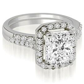 1.06 cttw. 14K White Gold Emerald And Round Cut Halo Diamond Bridal Set