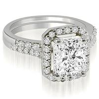 1.31 cttw. 14K White Gold Emerald And Round Cut Halo Diamond Bridal Set