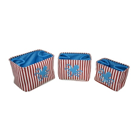 Set of 3 Red / White Striped Blue Octopus Canvas Nesting Storage Bins - 13.75 X 10 X 9.5 inches
