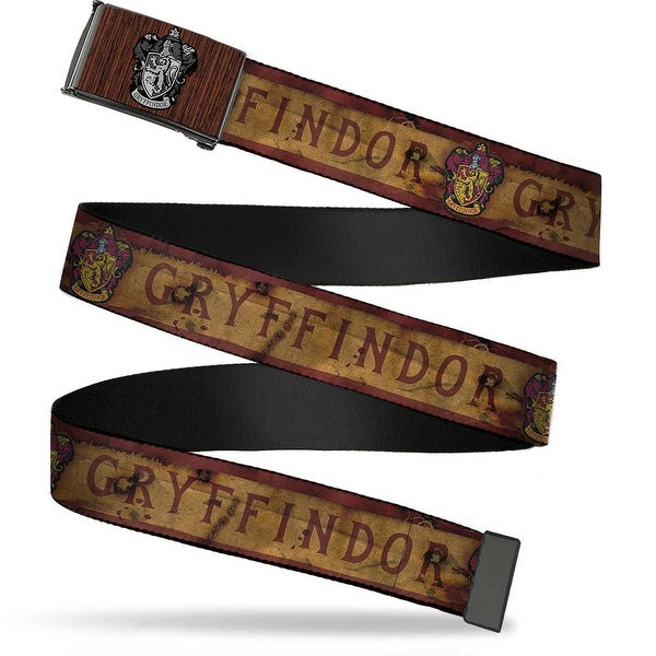 Gryffindor Crest Marquetry Black Walnut Brushed Silver 1.0 Cam Gryffindor Web Belt