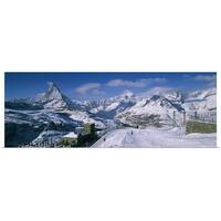 Poster Print entitled Group of people skiing near a mountain, Matterhorn, Switzerland - multi-color