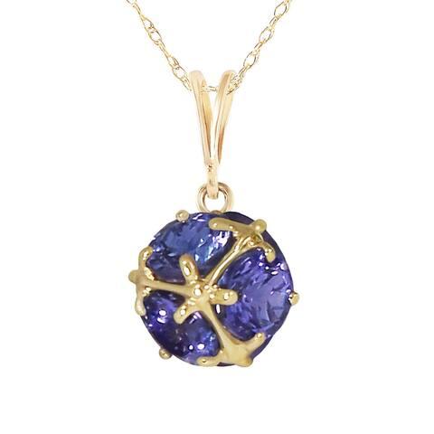 3.40 Carat 14K Solid Gold Natural Tanzanites Necklace Gemstone Series