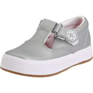 Keds Girls Daphne Leather Low Top Fashion Sneaker (Option: Silver - 5 m toddler/little kid)