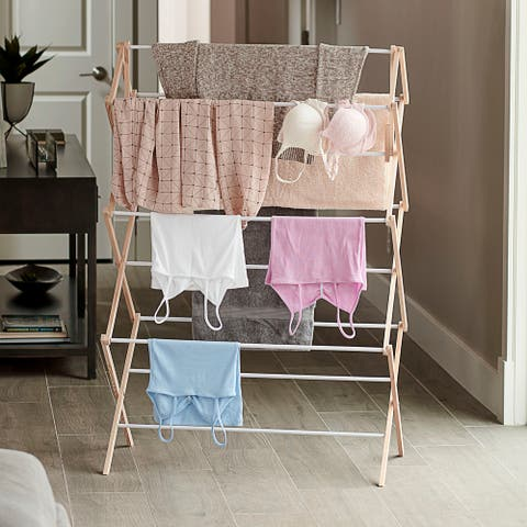Household Essentials Large Bamboo Folding Clothes Drying Rack with Sturdy Frame, Folds for Storage