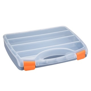 15-inch Tool Box with Tray and Organizers Includes 4 Small Parts Boxes