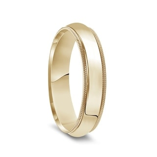 14k Yellow Gold Polished Domed Wedding Band With Milgrain Edges 6mm