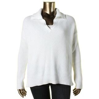Lauren Ralph Lauren Womens Fold-Over Collar Side Slits Pullover Sweater - XL