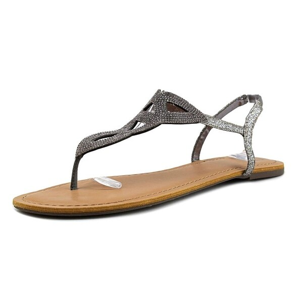 Material Girl Swirlz Women Open Toe Canvas Gray Thong Sandal