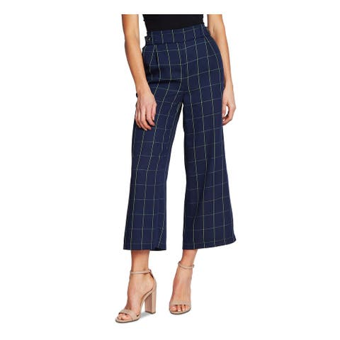 CECE Womens Navy Pocketed Plaid Wide Leg Pants Size 2