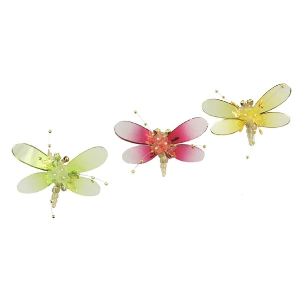 Set of 3 Plum, Green and Gold Crystalique Mirror Dragonfly Christmas Ornaments