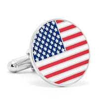 Nickel Plated American Flag Cufflinks